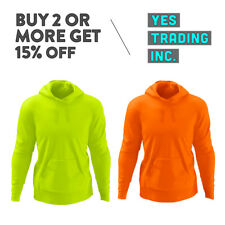 MENS CASUAL PULLOVER HOODIE HIGH VISIBILITY PLAIN SWEATSHIRT NEON HOODIE ANSI
