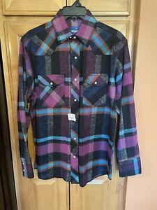 New WRANGLER Flannel Shirt Purple Size M medium
