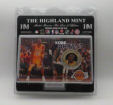 RARE Kobe Bryant Highland Mint LA Lakers 24k Gold Plated Coin Card L.E. 5000