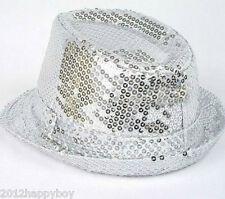 Shiny Sequin Sparkle Trilby Hat Fedora MJ Fancy Dress Party Dance Jazz Costume