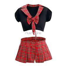 Sexy Womens School Girl Uniform Nurse Plaid Outfits Fancy Costume Role Cosplay