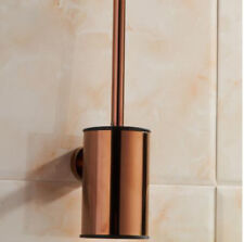 Wall Mounted Bathroom Toilet Brush Set Holder Stainless Steel Rose Gold Polished