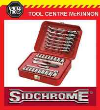 "SIDCHROME SCMT12105 30pce METRIC & A/F 1/4"" SOCKET & FLEX RATCHET SPANNER SET"