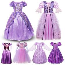 Girls Rapunzel Dress Kid Fancy Princess Costume Modeling Frock Purple Gown Party