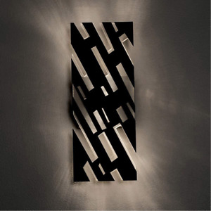 AFX Lighting Black Chrome LED Wall Sconce Light Dynamic Cut Metal Faceplate $291