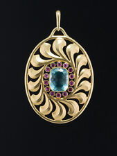 ARTS AND CRAFTS AQUAMARINE & RUBY PAUL PETER PFEIFFER FINE SECESSIONIST PENDANT