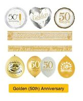GOLDEN 50th Wedding ANNIVERSARY Party Supplies - Banners, Balloons & Decorations