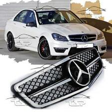 FRONT CHROME-BLACK GRILL FOR MERCEDES W204 07-14 C63 AMG LOOK SPOILER 204030-C
