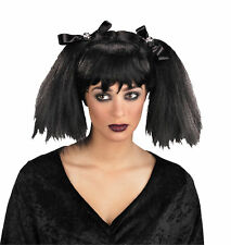 Dead Pigtails Gothic Black Style Wig With Bows Halloween Dress Up Disguise