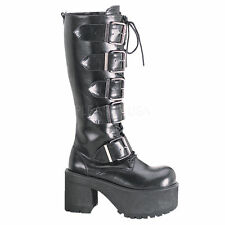 Demonia Ranger 318 Ladies Goth Punk Cosplay Boots Heel Knee Platform Buckles