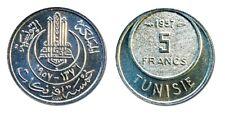 Ten (10) Tunisia 5 Francs Uncirculated 1957 Coins,KM277