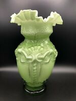 "Vintage Large Hand Blown Art Glass Victorian Green & White Ruffled Vase, 12"" T"