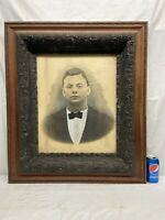 "Vtg Victorian Barbola Flower Wood LARGE Frame 20""x16"" Portrait Young Gentleman"