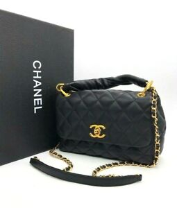 Chanel Shoulder Bag With a Rigid Handle Black Leather Classic New With Box Dust