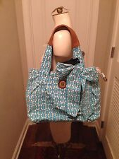 TOMMY HILFIGER Blue Turquoise & White Logo Bow Canvas Tote Purse Bag $98 NWT!