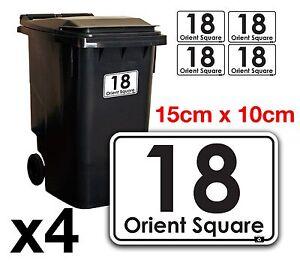 x4 WHEELIE BIN NUMBERS CUSTOM HOUSE AND ROAD STREET NAME STICKERS A6 - BN-19B