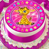 CUTE BABY GIRAFFE PINK STAR BORDER 7.5 INCH PRECUT EDIBLE CAKE TOPPER DECORATION