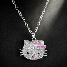 HELLO KITTY SILVER CRYSTAL CAT PINK BOW CHARM PENDANT NECKLACE