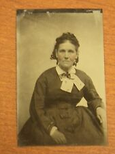 Antique Victorian 1800's Tin Type Studio Photo of a Lady