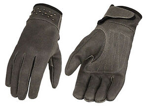 Ladies GREY Premium Lined Leather Riding Gloves Rivets Motorcycle Biker Driving