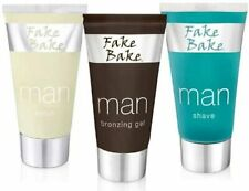 Fake Bake Man Facial Tanning Set SHAVE, SCRUB & BRONZING GEL 3 x 60ml Sealed NEW
