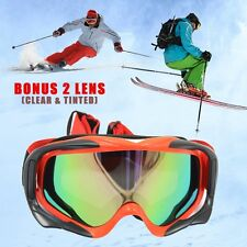 Ski Snowboard Anti-Fog RED Goggles Sporting Protective Glasses - Tint Clear Len