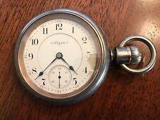 1903 ELGIN 17j Pocket Watch 18s Grade 249 Runs 925 Fine Silver Swing out Case