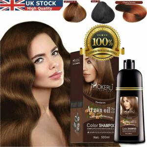 500ml Mokeru Hair Color Shampoo Natural Organic Argan Oil Essence Care Hair Dye