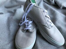 VANS Off The Wall Gray and Mint Green Canvas Sneakers - Women's 6