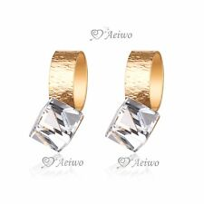 18K YELLOW GOLD GF STUD MADE WITH SWAROVSKI CRYSTAL EARRINGS