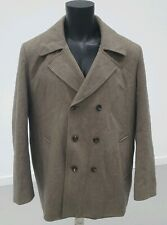 Mens XXL River Island Wool Blend Smart Winter Coat Grey Collared Button Up