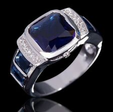 Size 10 Blue Sapphire 18K Gold Filled Wedding Luxury Ring For Men's Anniversary