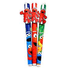 Sesame Street Ball Pen Set Elmo Metal Clip Black Ink 3pc