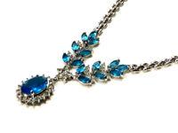 Bijou collier pendentif cristal bleu  alliage argenté necklace