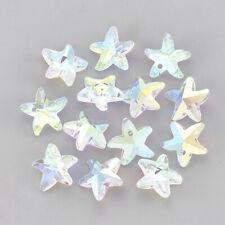 20 pcs Starfish Crystal AB Glass Rhinestone Pendants Charms 14x15x7mm Hole 1.5mm