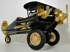 Pedal Car Air plane WW1 Vintage Black with Gold Tail Aircraft Midget Metal Model