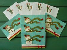 (5) Christmas Greeting Cards For Anyone Snowman Embellished Unused Hallmark