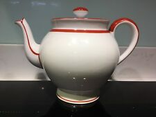bernardaud limoges Vintage Art Deco Style Teapot White With Coral Trim Vgc