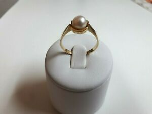Gold Ring with Natural Pearl. Yellow Gold 14 kt. Hand Made