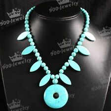 1pc Howlite Turquoise Gemstone Horse Eye Coin Beads Bid Statement Women Necklace