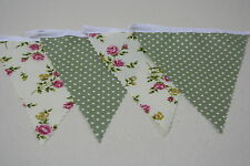 Cream Rose and Green Mini Spot 100% Cotton Bunting Single side 13ft/4m long