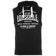 MENS LONSDALE OVER THE HEAD HOODY HOODIE BLACK GYM SLEEVELESS LARGE LOGO
