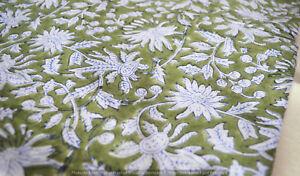Indien Coton Main Bloc Tissu Imprimé Couture Desseré Artisanat Course 2.7m
