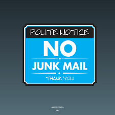 SKU091 - No Junk Mail Front Door Sign Sticker - 140mm x 118mm