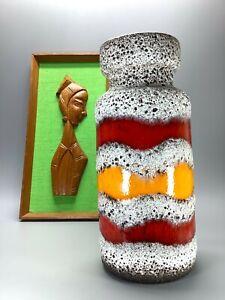 Classic Mid Century Fat Lava West German Pottery Vase Orange Red