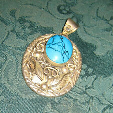 Signed Mexico - Beautiful - Est Sterling Silver & Blue Turquoise Feather Pendant