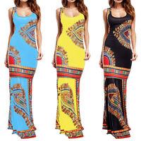 Womens Boho Printed Sleeveless Maxi Long Dress Summer Casual Slim Party Bodycon