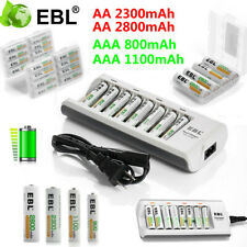 Lot EBL AAA AA Ni-MH Rechargeable Batteries +8 Slot Smart Charger for Flashlight