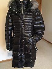 Women's Black Down Puffer Coat,XL,Hooded,Fur Collar,Karl Lagerfeld,NWT