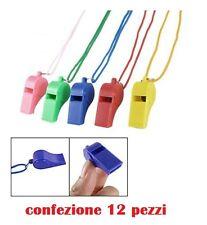 Set 12 Fischietti In Plastica Colorati Calcio Bambini Gioco Corda Laccetto moc